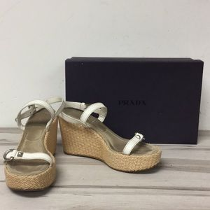 Prada Shoes - Prada White Leather Platform Wedge Sandal 38.5